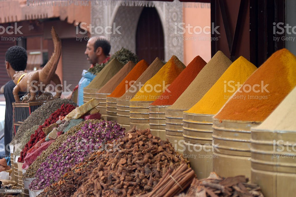 Variety of spices at a spice market it Marrakech, Morocco stock photo