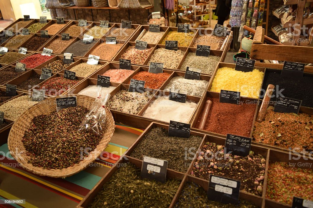 Variety of Spices in a Spice Market stock photo