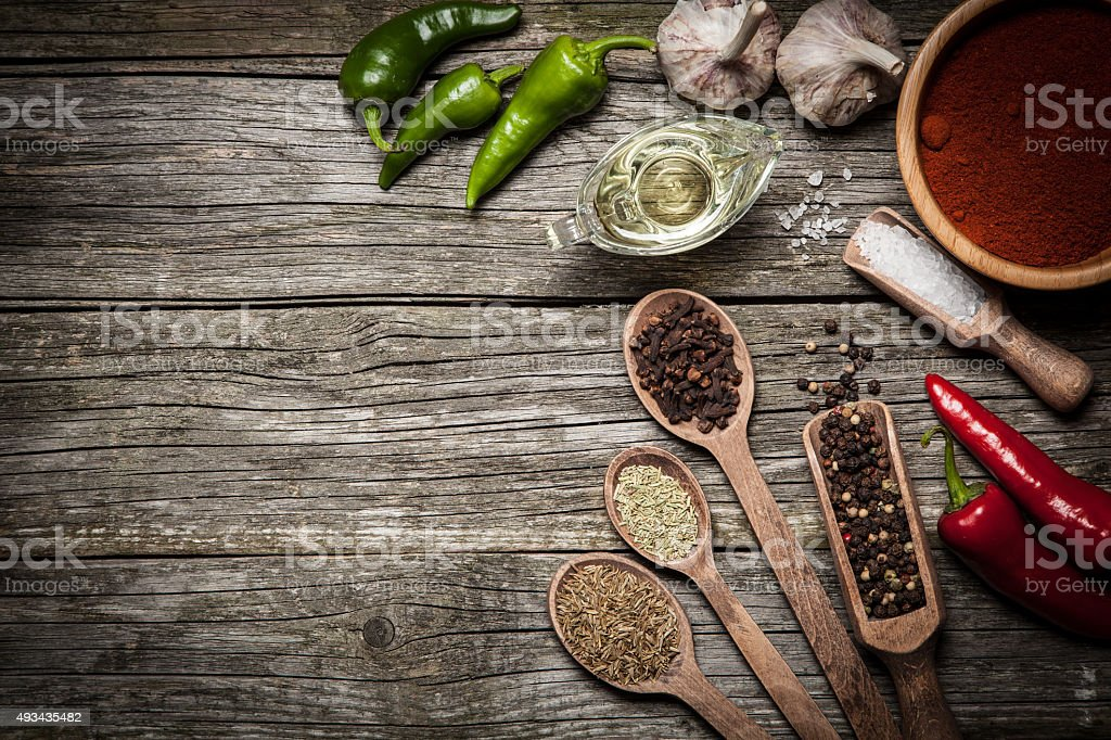 Variety of spices stock photo