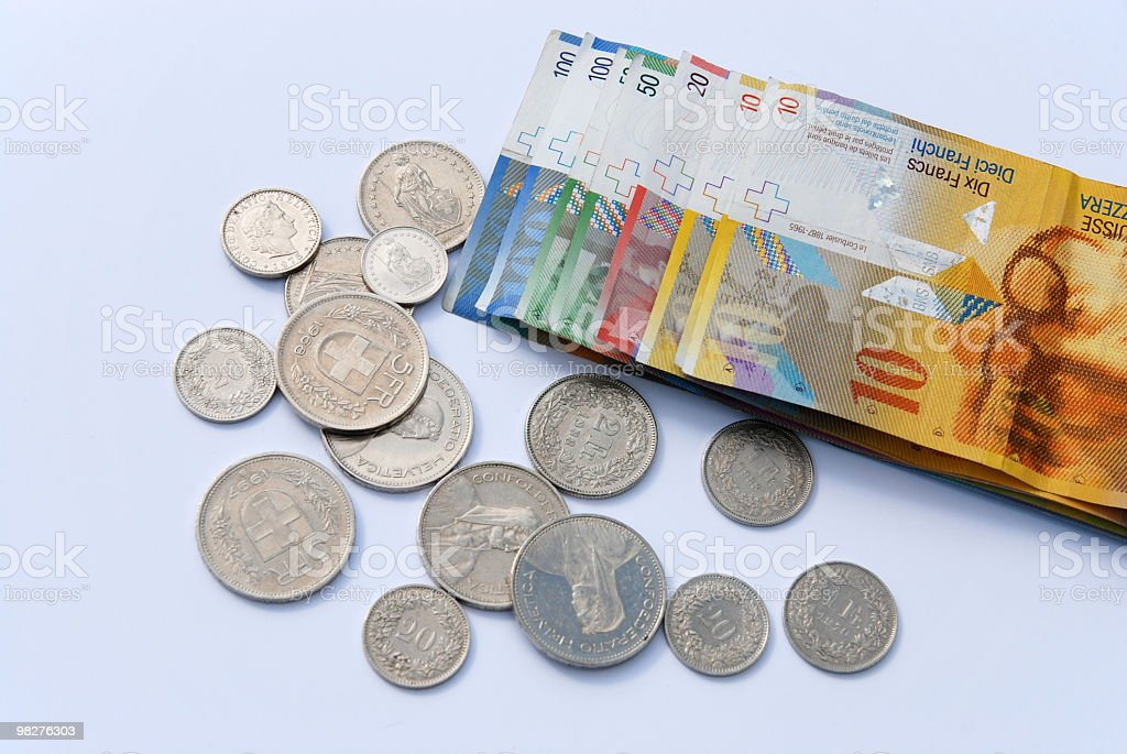 Variety of Swiss franc currency in coins and banknotes stock photo