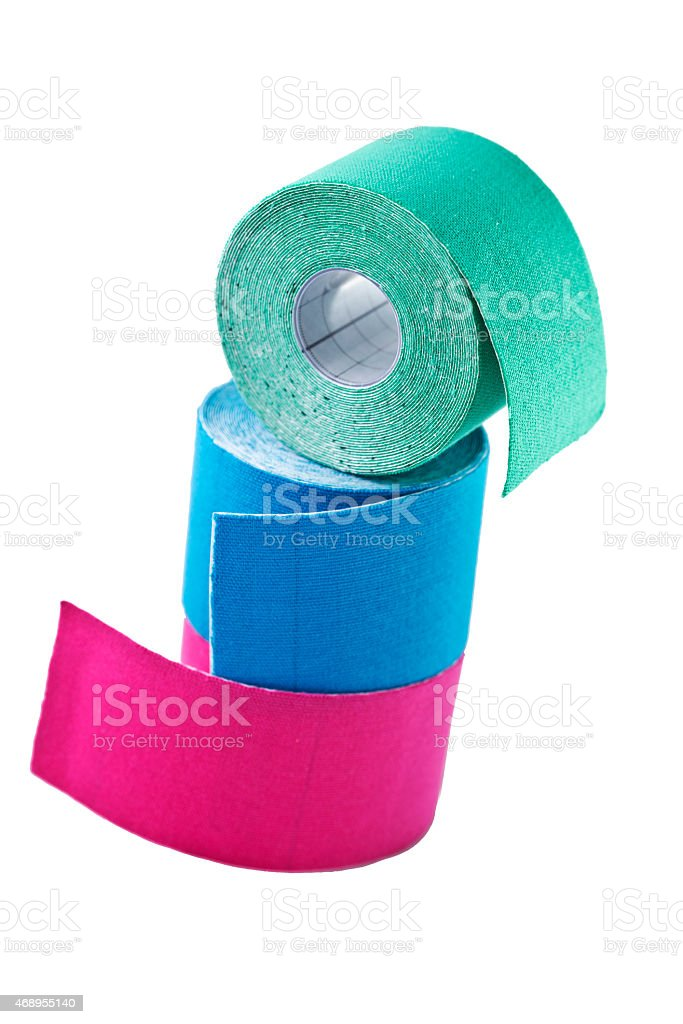 variety of therapeutic self adhesive tapes, taping kinesiologico stock photo