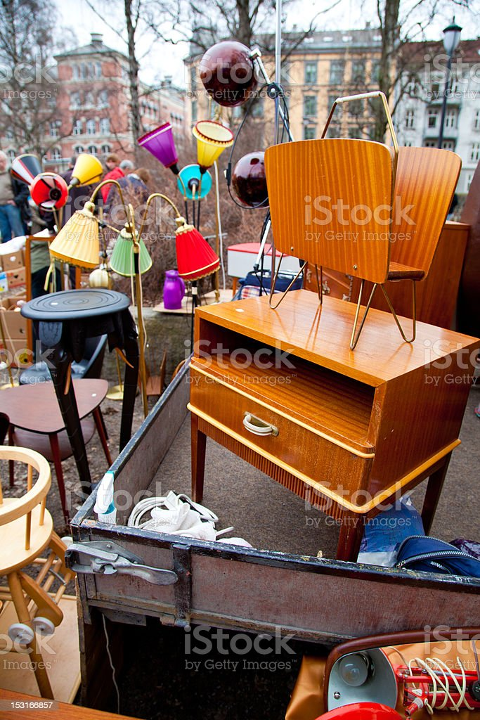 A variety of things for sale on a flea market stock photo