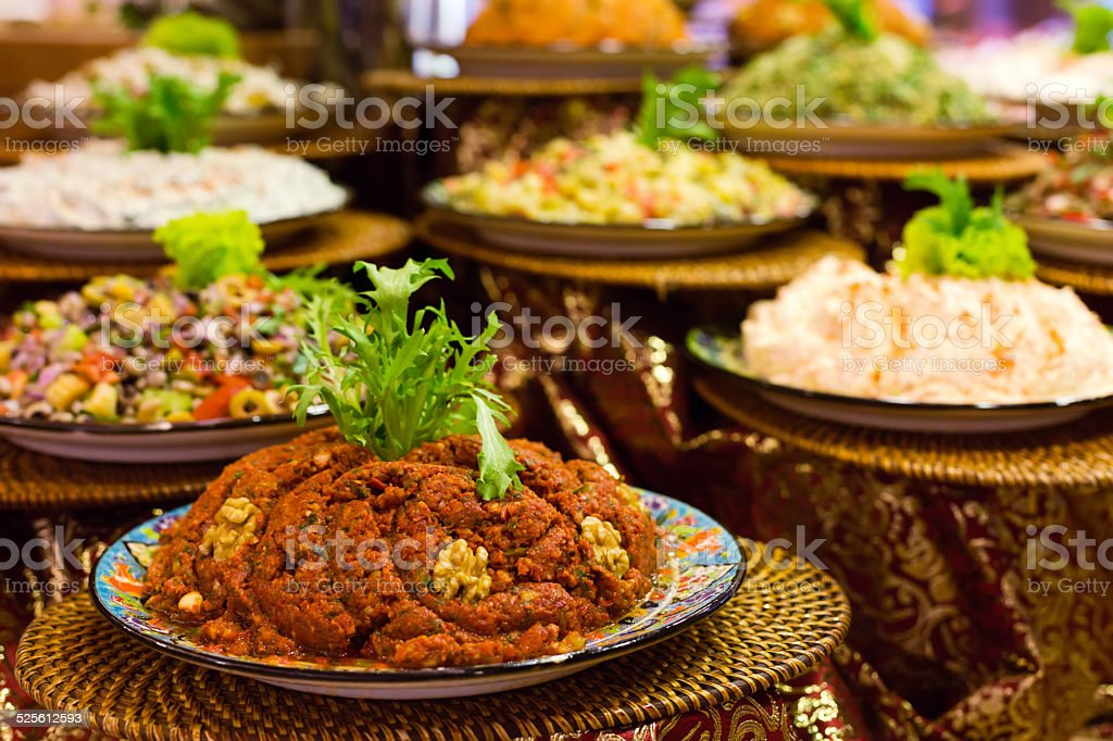 Variety of turkish appetizers and salads stock photo