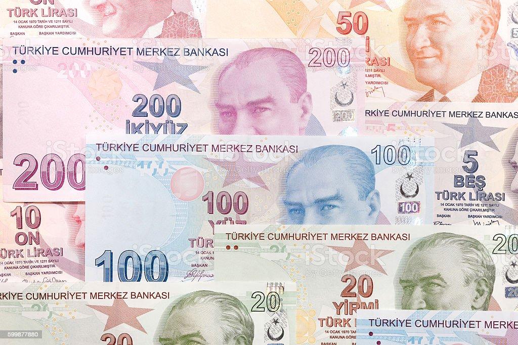 Variety of Turkish Lira stock photo