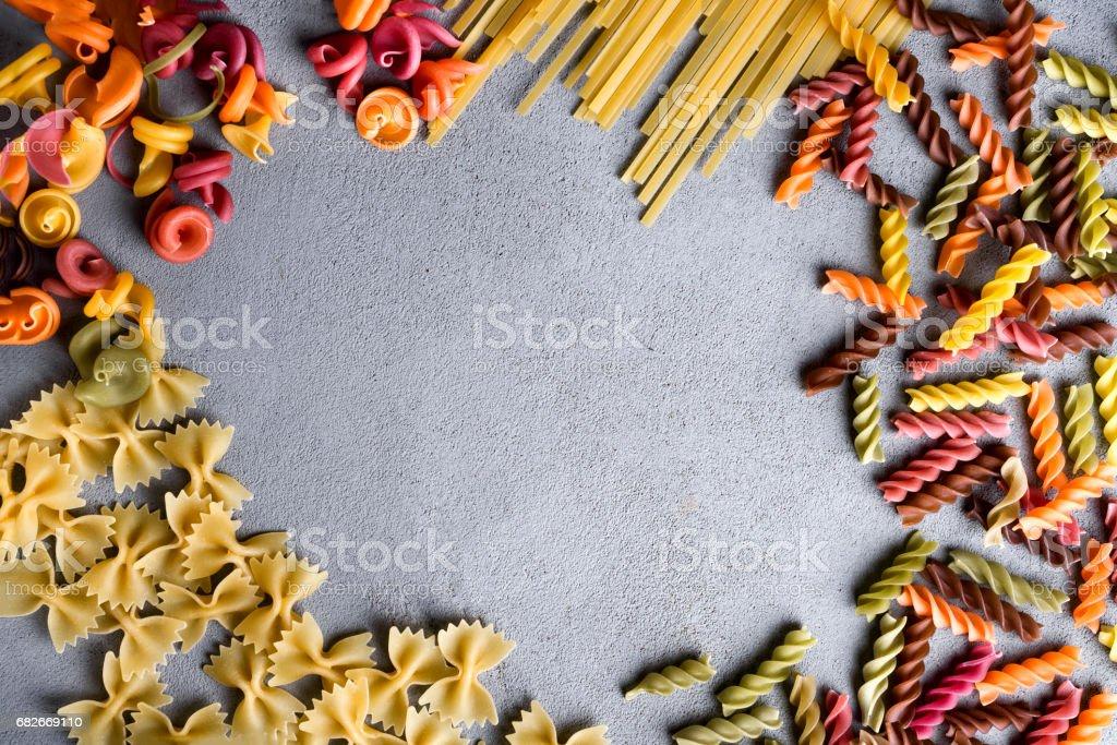 Variety of types dry Italian pasta stock photo