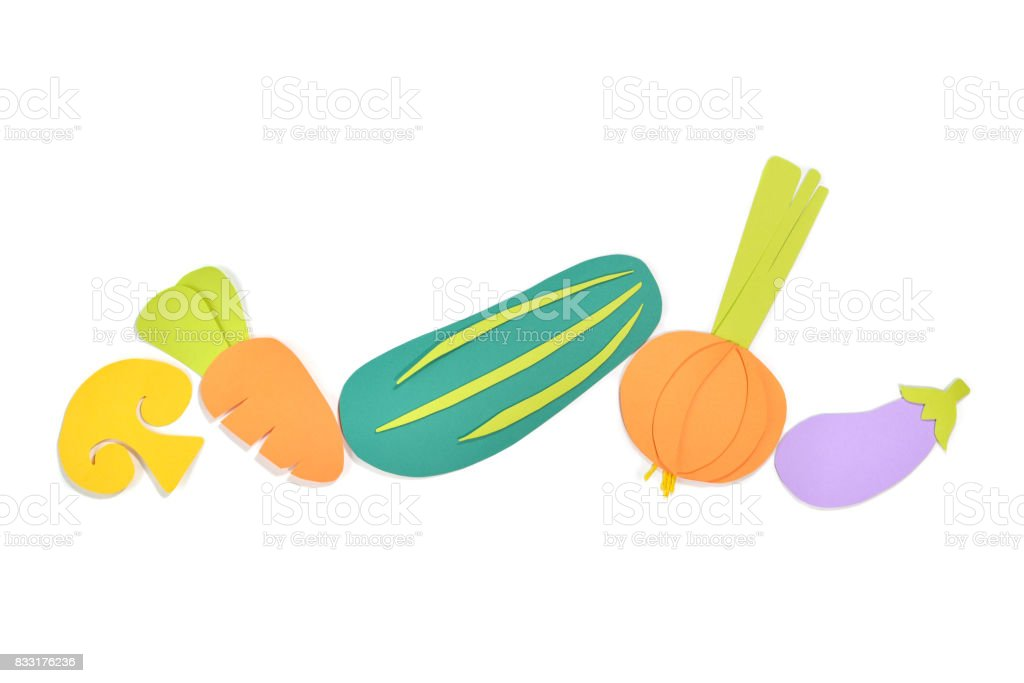 Variety of vegetables and fruit paper cut on white background stock photo