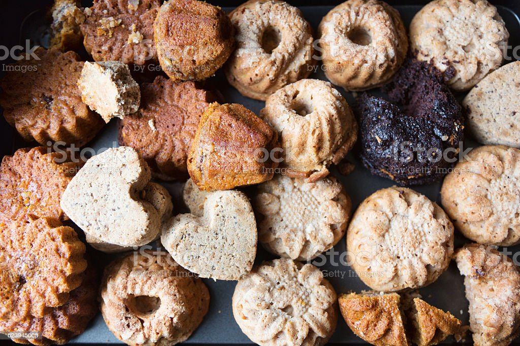 variety of wholemeal muffins stock photo