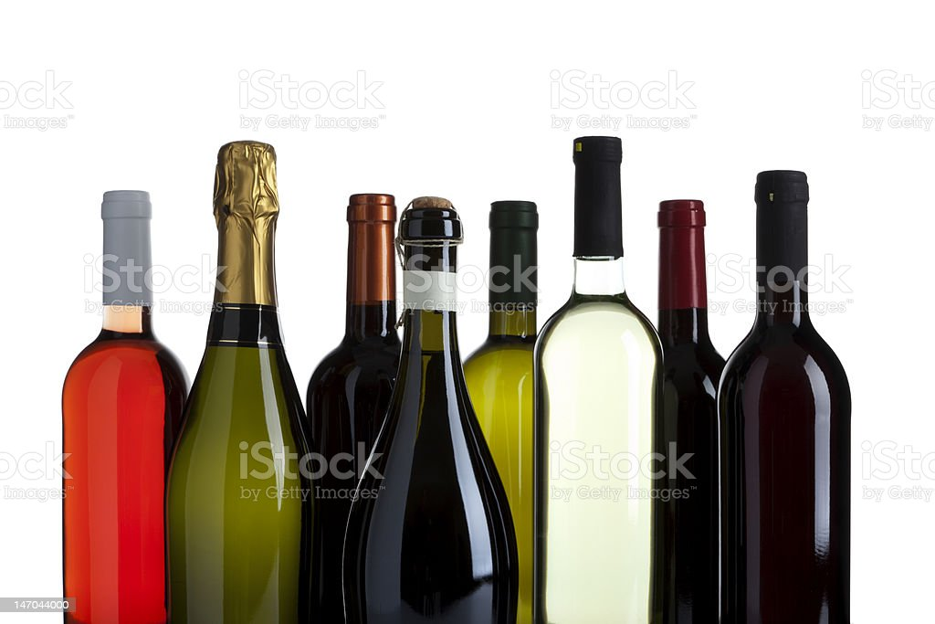 variety of wine and champagne bottles isolated royalty-free stock photo