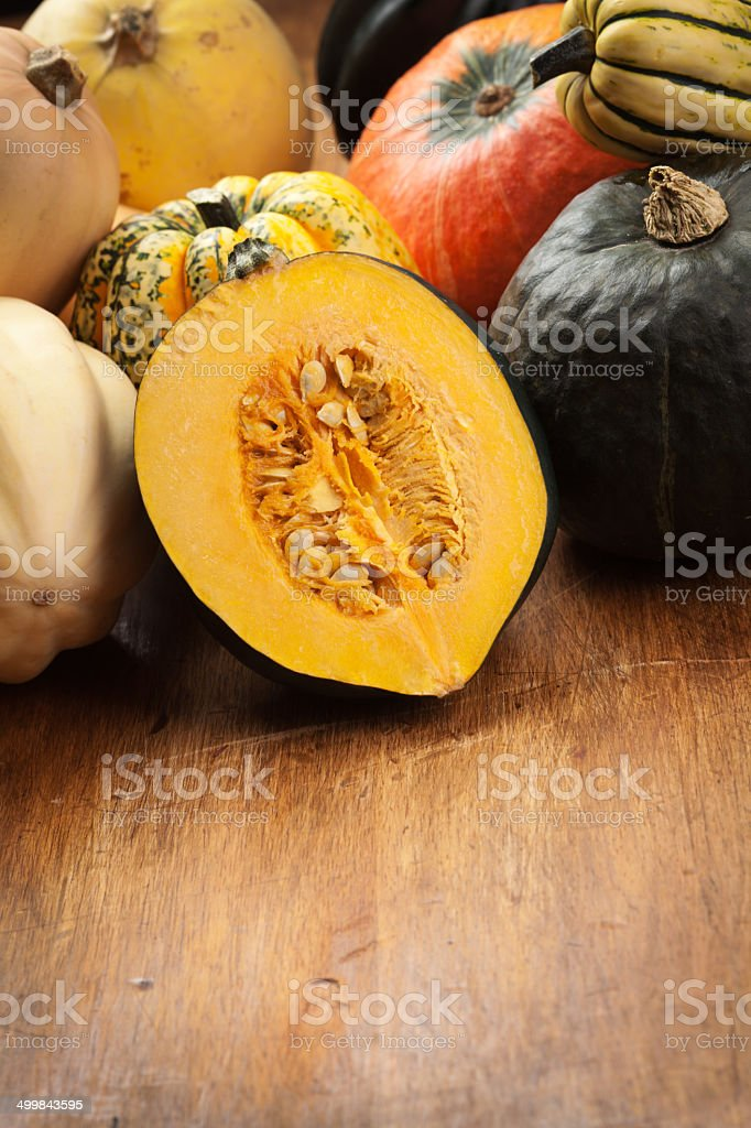 Variety of Winter Squashes Vertical with Copy Space stock photo