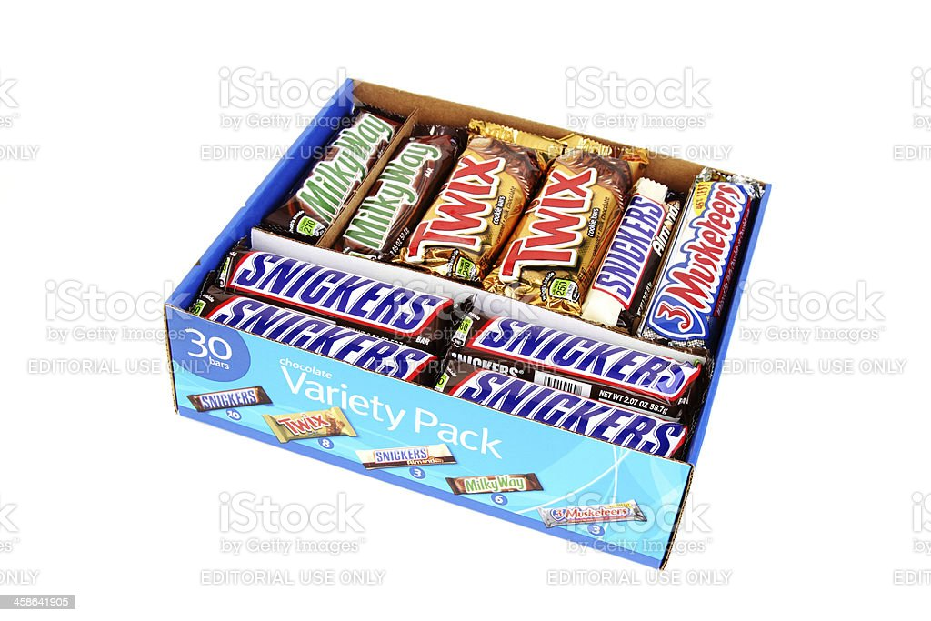 Variety pack of Mars candy bars stock photo
