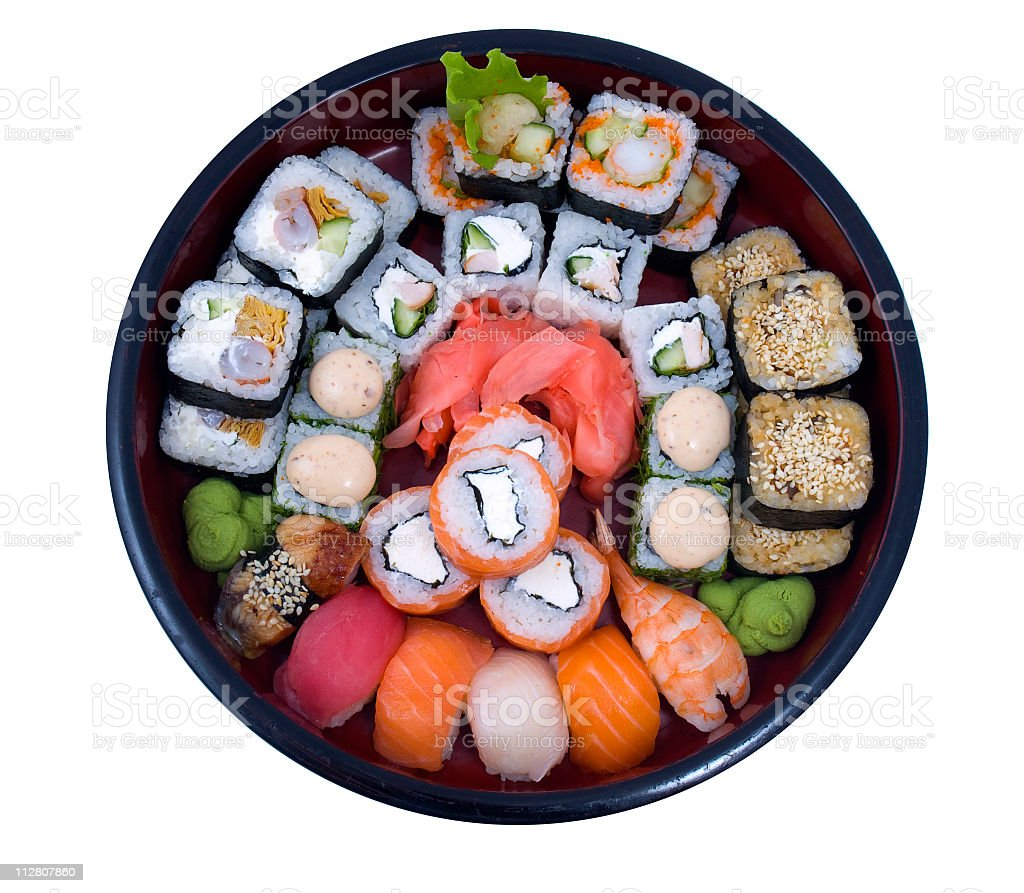 Variety platter of different types of sushi rolls royalty-free stock photo