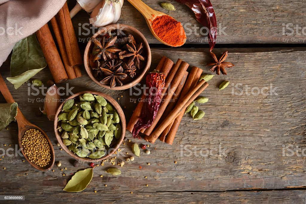 variety, spicy spices on a wooden background stock photo