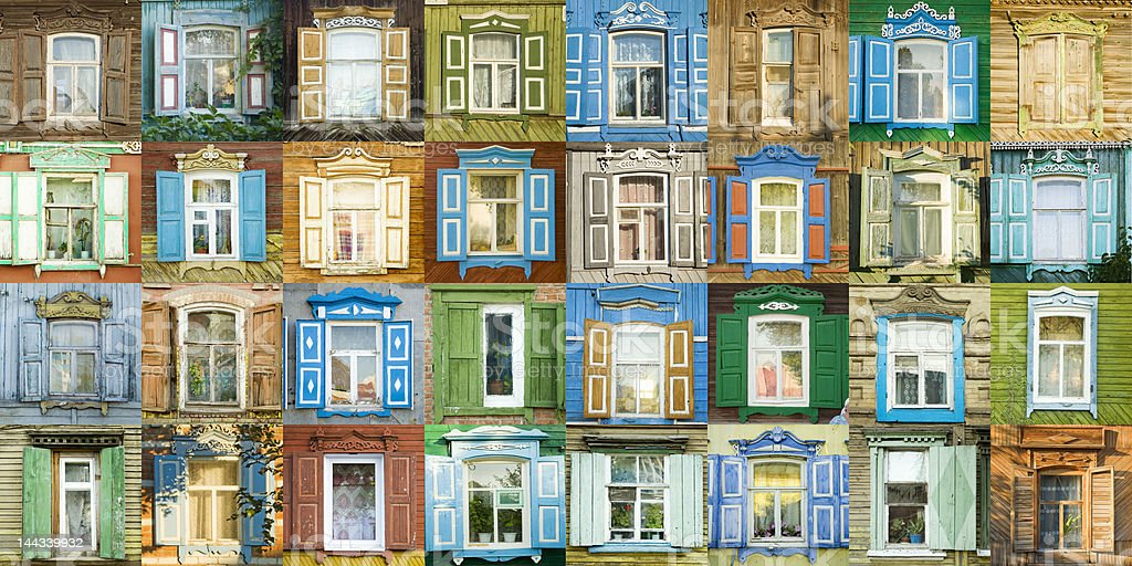 variety windows from russian town Engels. royalty-free stock photo