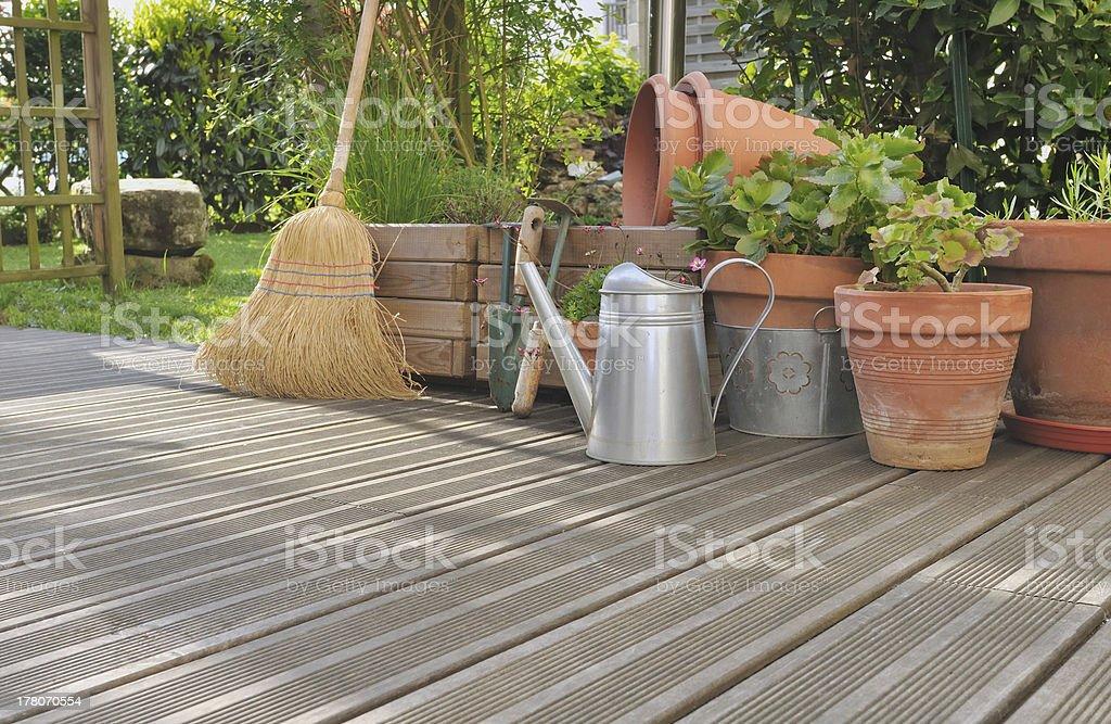 various accossories on wooden deck stock photo