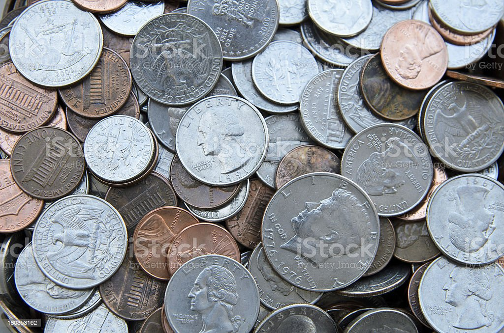 Various American Dollar Coins royalty-free stock photo