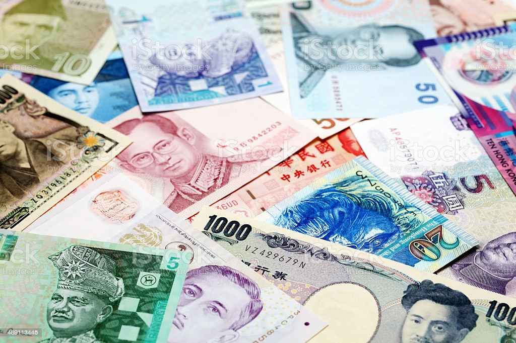 Various Asian bank currencies stock photo