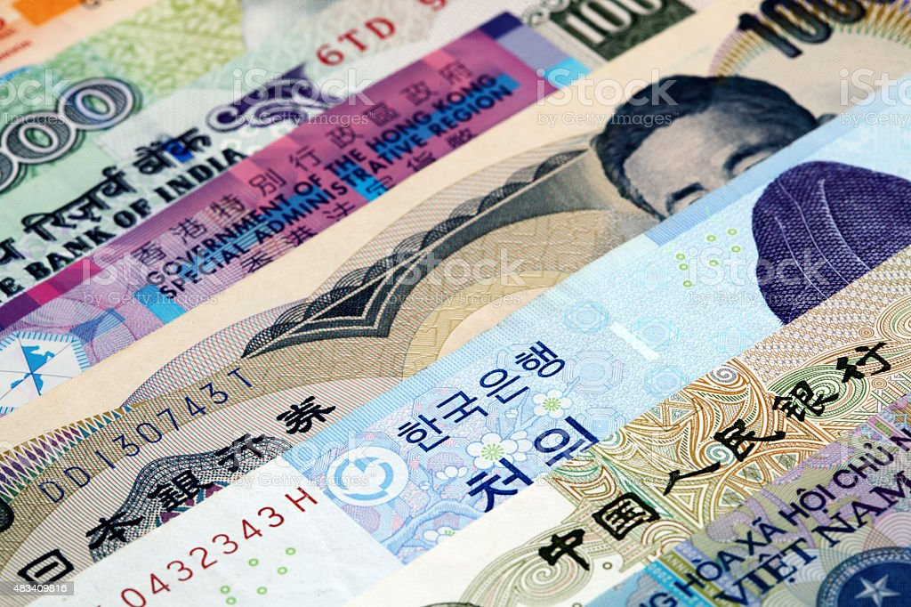 Various Asian currency stock photo