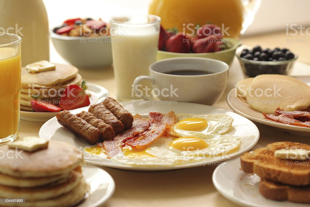 Various assorted breakfast foods stock photo