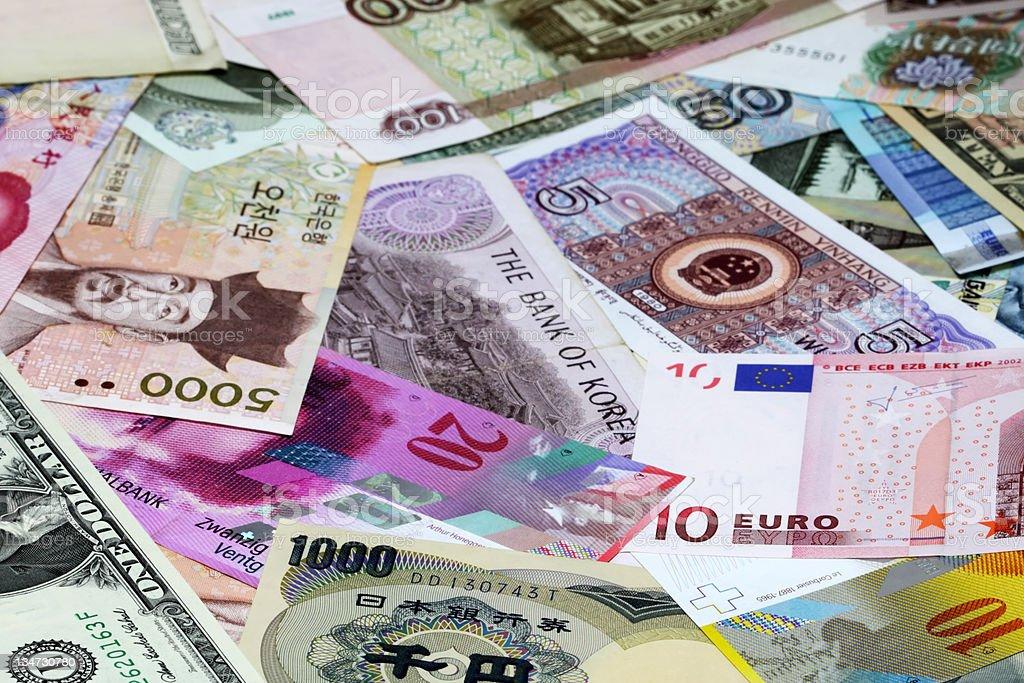 Various bank currencies stock photo