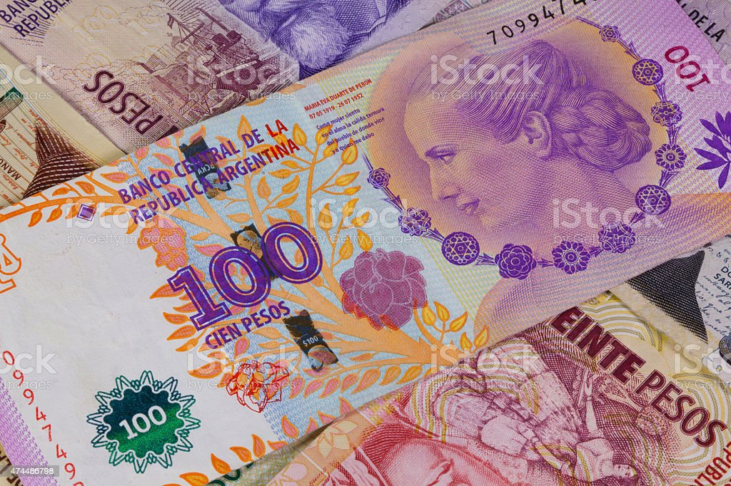 Various banknotes from Argentina stock photo