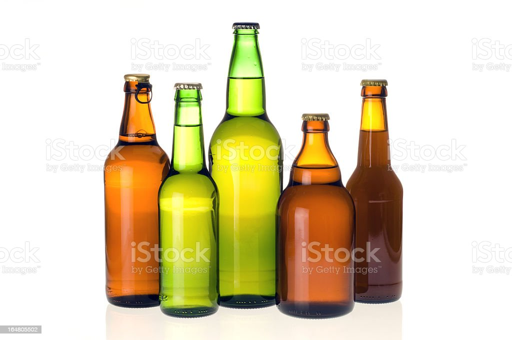 Various beer bottles isolated royalty-free stock photo