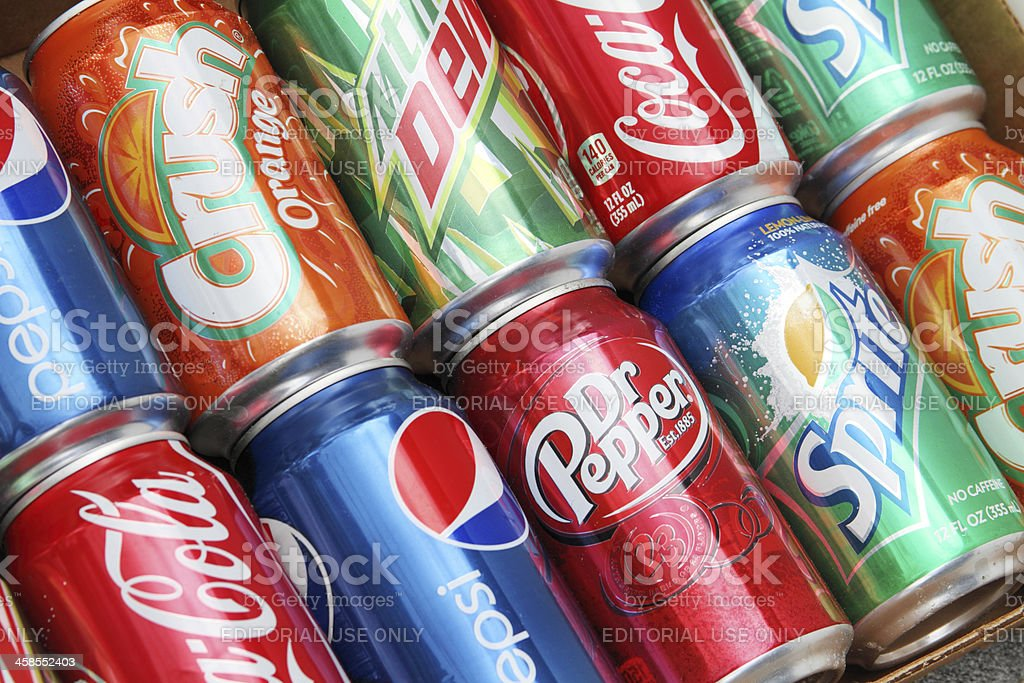 Various brands of sodas or soft drinks. stock photo