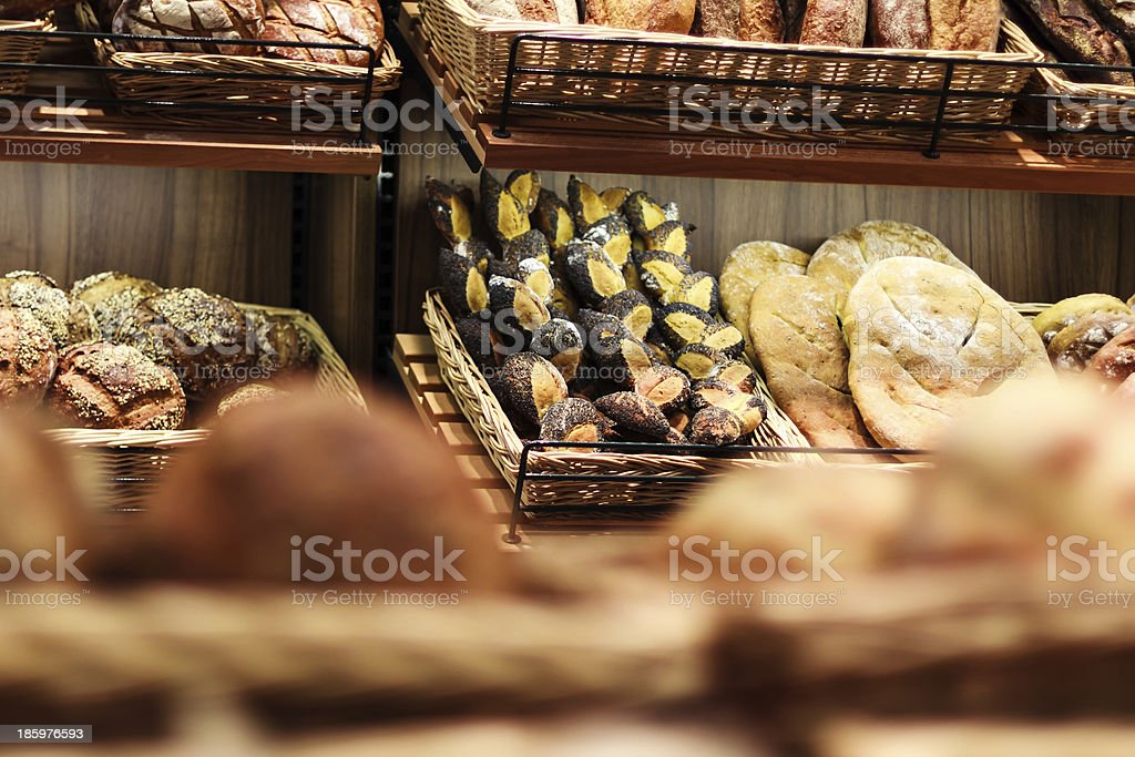 Various  bread type, pastries and bakery products on shelf royalty-free stock photo