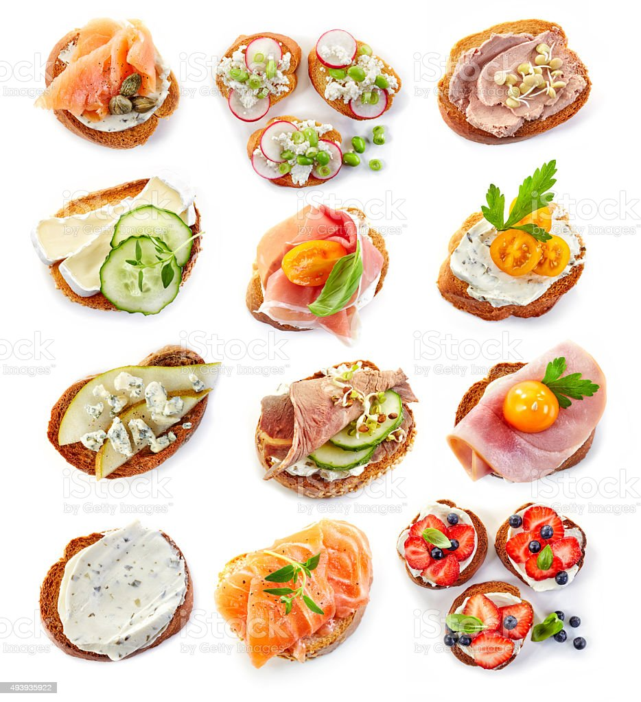 various bruschettas stock photo