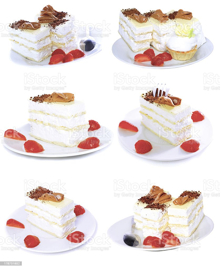 Various cakes  with fruits, strawberrys. Isolated stock photo
