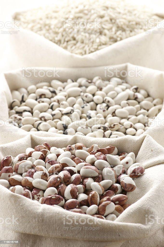 Various cereals in bags royalty-free stock photo