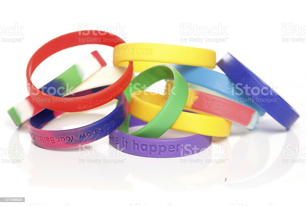 Various charity fundraising wristbands royalty-free stock photo