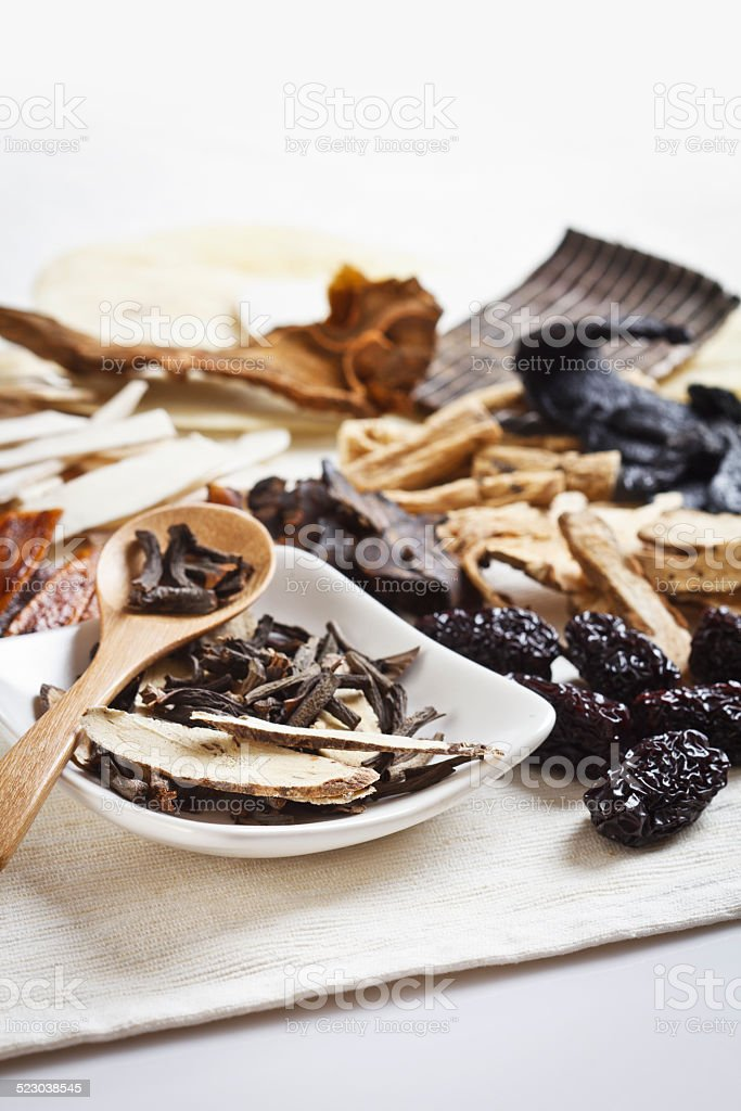 Various Chinese herbal medicine stock photo