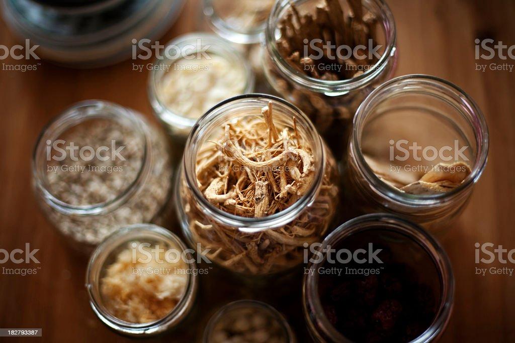 Various Chinese Herbs stock photo