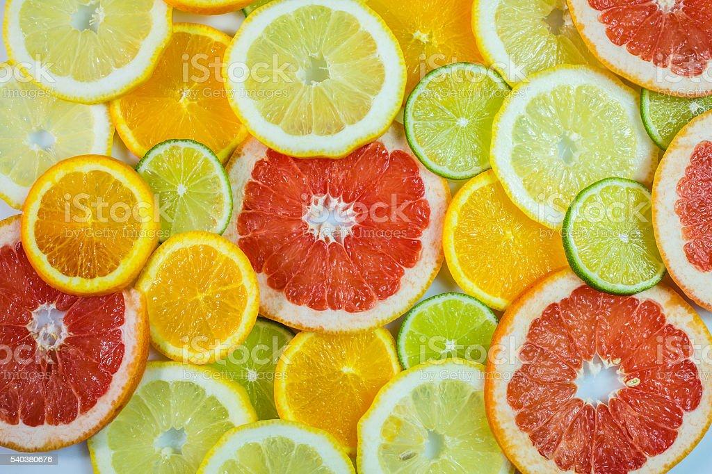 Various citrus slices stock photo