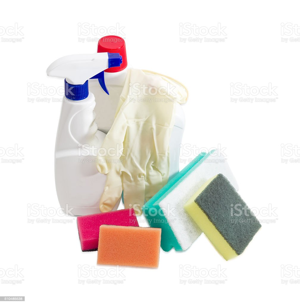 Various cleaning sponges, bottles of cleaning agent, rubber glov stock photo