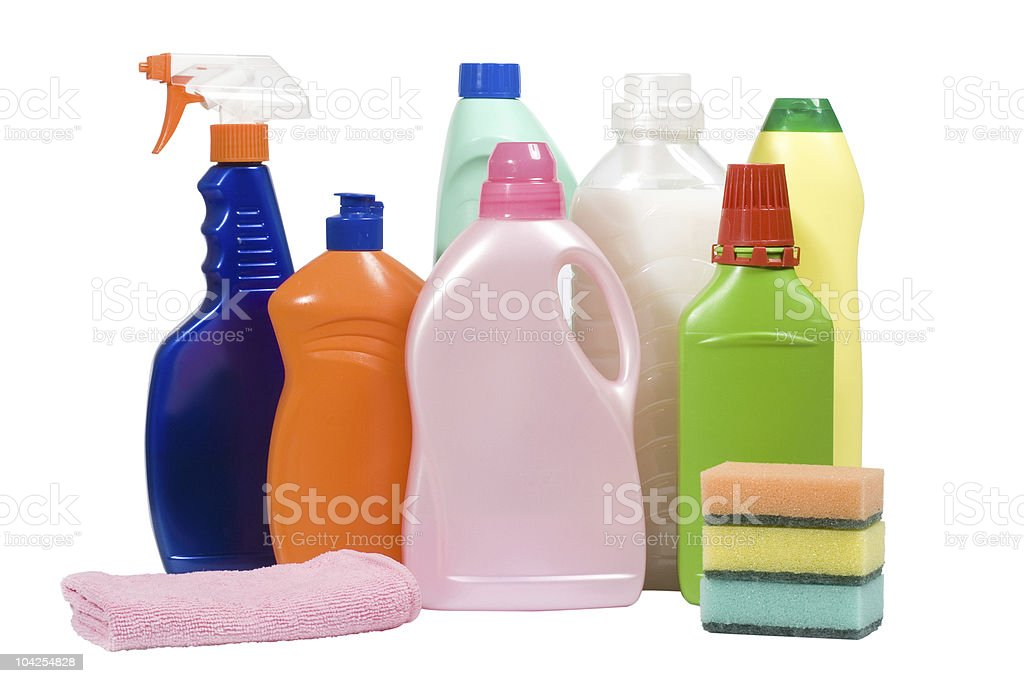 Various cleaning supplies stock photo