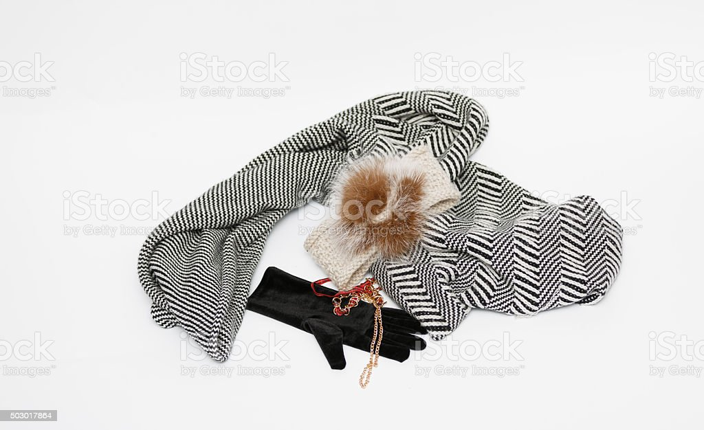 Various clothing and accessories isolated on light grey background stock photo