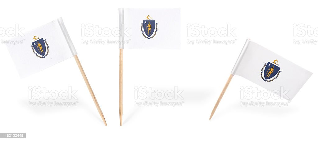 Various cocktail flags of Massachusetts isolated on white.(serie stock photo