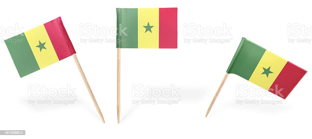 Various cocktail flags of Senegal isolated on white.(series) stock photo