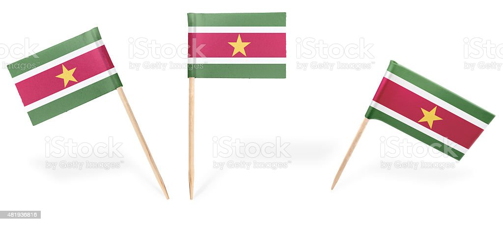 Various cocktail flags of Suriname isolated on white.(series) stock photo