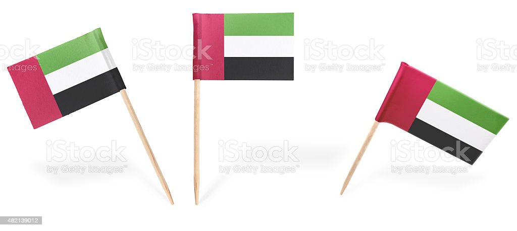 Various cocktail flags of United Arab Emirates isolated on white stock photo