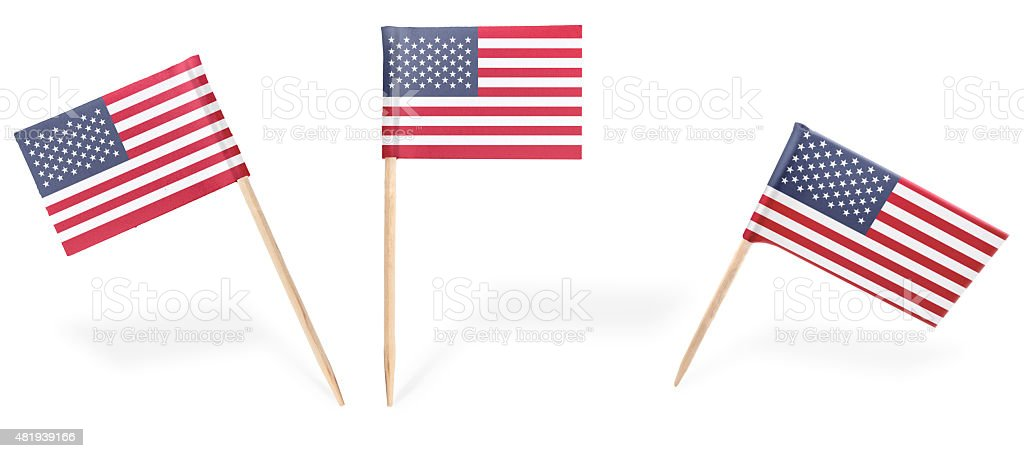 Various cocktail flags of USA isolated on white.(series) stock photo