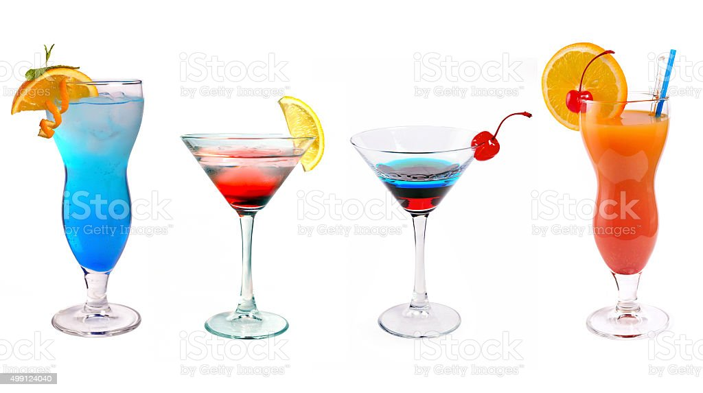 various cocktails at the bar stock photo