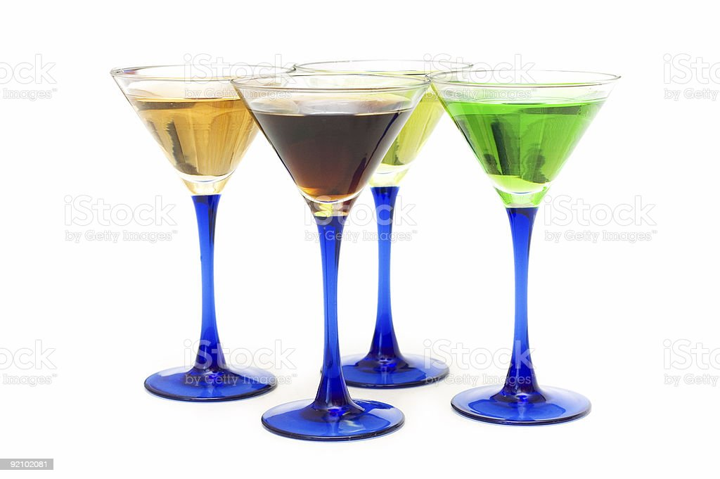 Various cocktails isolated on the white background royalty-free stock photo