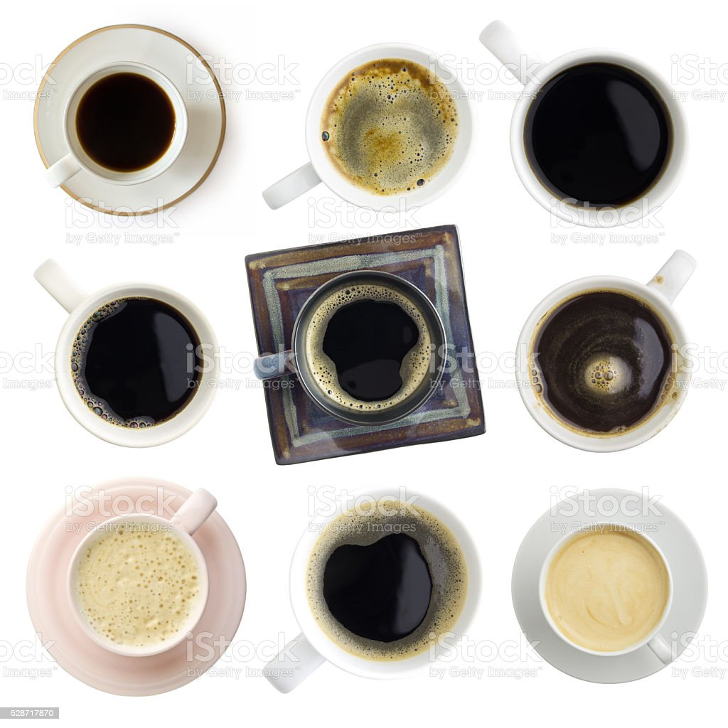 various coffee set, clipping paths included, top view stock photo