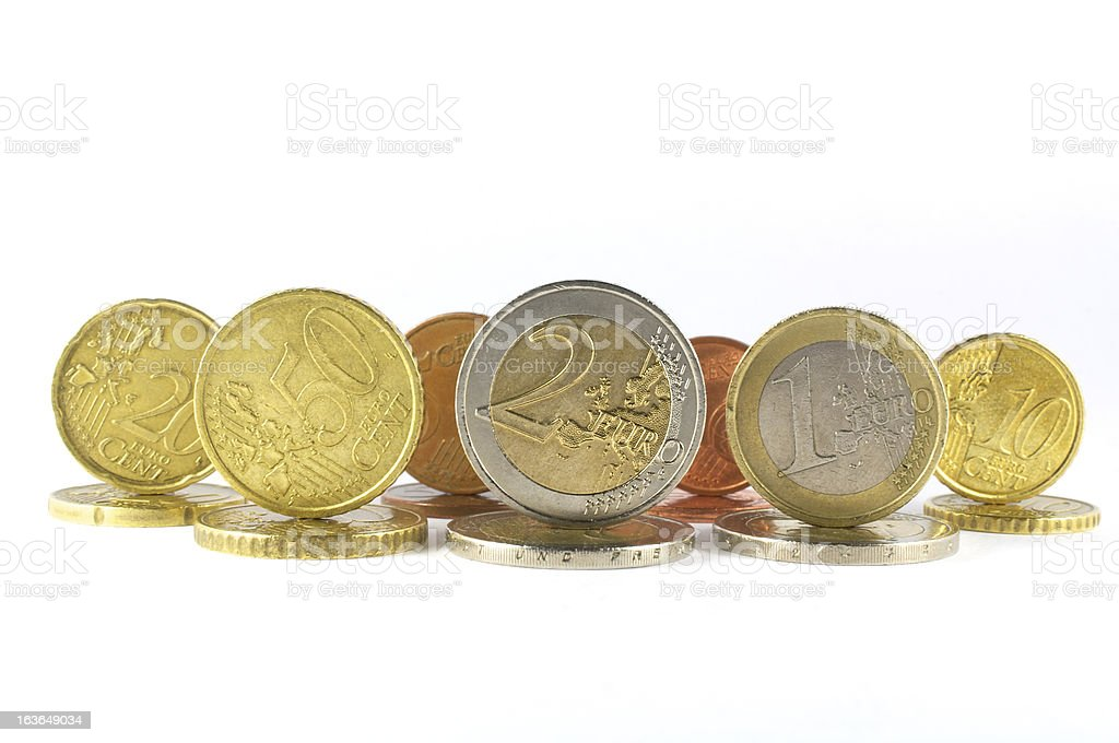 various coins euro royalty-free stock photo