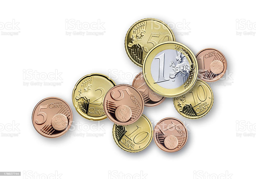 various coins euro stock photo