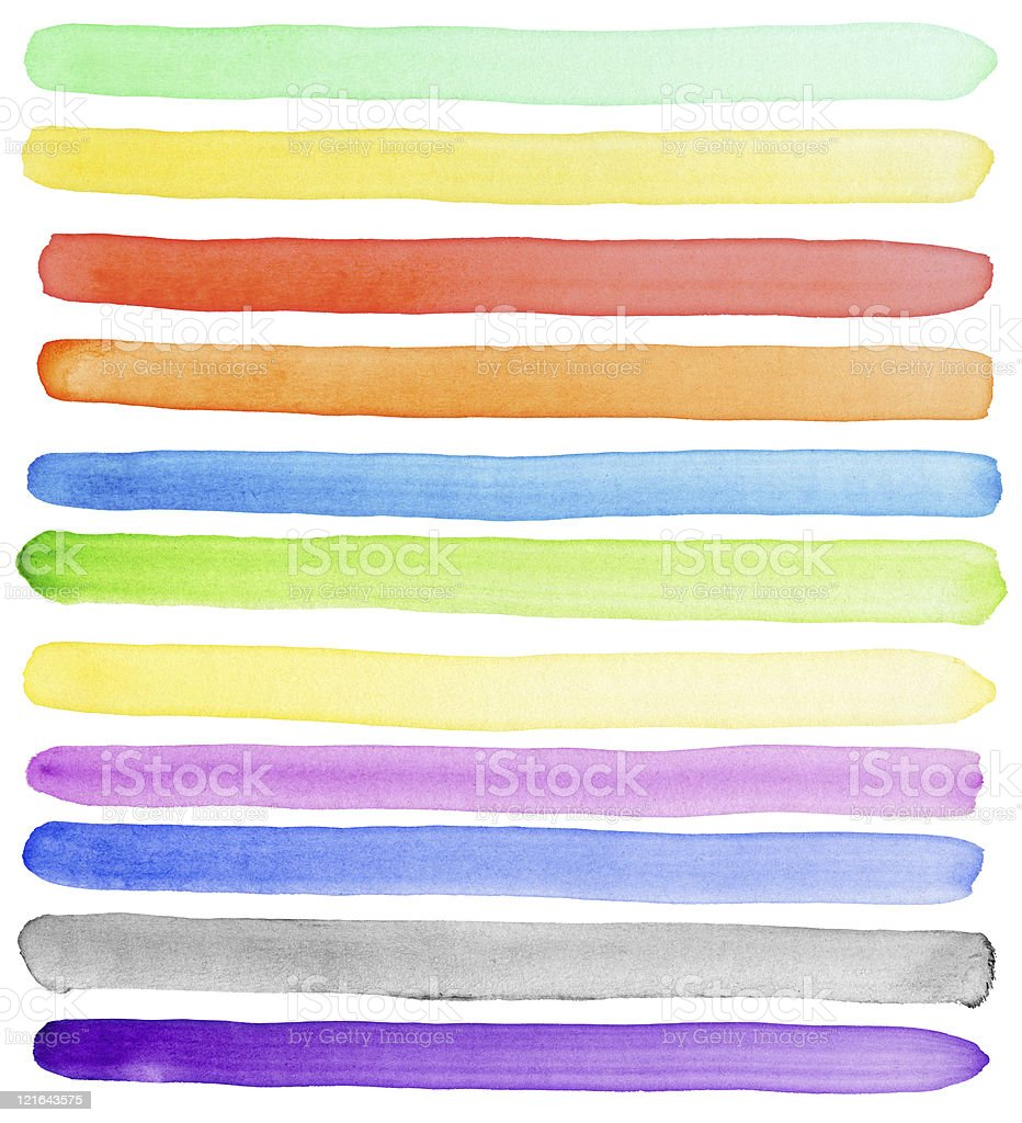 Various color of the watercolor elements on white background stock photo