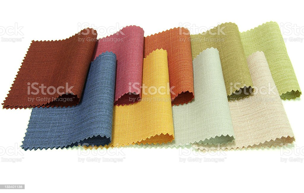 Various colored textile canvas samples royalty-free stock photo