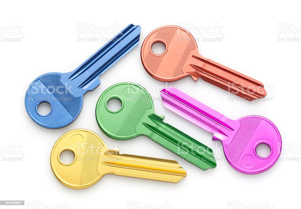 Various colored uncut house keys royalty-free stock photo